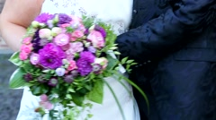 Wedding couple with a bouquet Stock Footage