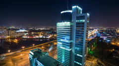 Night illumination minsk city center roof top panorama 4k time lapse Stock Footage