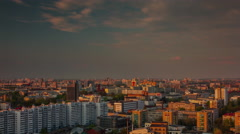 Minsk city sunsrise roof top panorama 4k time lapse Stock Footage