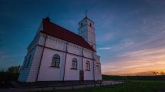 Sunset light sky church panorama 4k time lapse Stock Footage