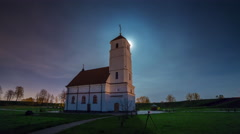Sunset minsk province church front panorama 4k time lapse Stock Footage