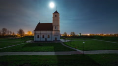 Night light illumination minsk church panorama 4k time lapse Stock Footage