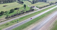Aerial drone scene of highway in the countryside. Stock Footage