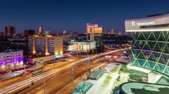 Minsk night light city traffic street hotel view 4k time lapse Stock Footage