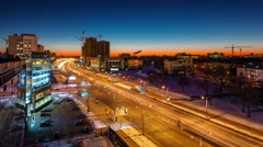 Winter night light minsk city traffic avenue roof top view 4k time lapse Stock Footage