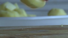 Hand cut fries potato Stock Footage