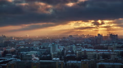 Sunset minsk city winter roof top panorama 4k time lapse Stock Footage