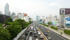 Stock Video Footage of Traffic jam accumulate on expressway, crowded roadway stop moving, above view