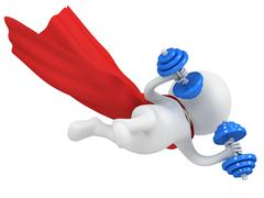 Stock Illustration of Brave superhero flying with dumbbells