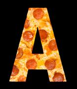Letter A cut out of pizza with peperoni Stock Photos