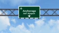 Stock Illustration of Anchorage USA Airport Highway Sign