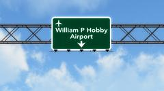 Houston Hobby USA Airport Highway Sign - stock illustration