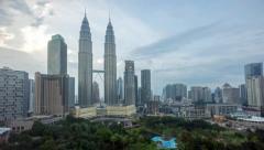 Cloudy hazy day at Kuala Lumpur City Centre Stock Footage