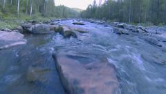 Forest mountain river (camera movement upstream water) - stock footage