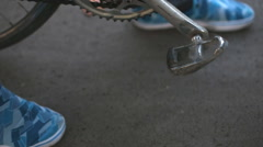 Bicycle pedal and foot Stock Footage