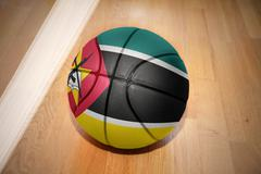 Basketball ball with the national flag of mozambique Stock Photos
