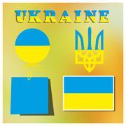 Set Ukrainian symbolism, vector illustration - stock illustration