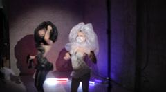 Vigorous dancing body art models - stock footage