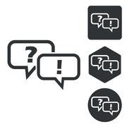 Question answer icon set, monochrome Stock Illustration