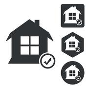 Select house icon set, monochrome Stock Illustration