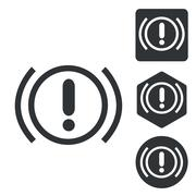 Alert sign icon set, monochrome Stock Illustration