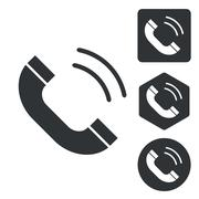 Calling icon set, monochrome - stock illustration