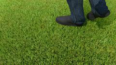 Walking on green grass 3D render foot Stock Illustration