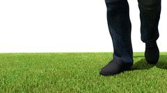 walking on green grass 3D render foot - stock illustration