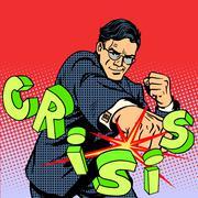 Super businessman hero against crisis business concept Piirros