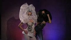 Two Body Art Girls Colored White and Black Dancing Stock Footage