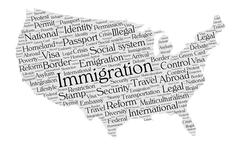 United States immigration word cloud - stock illustration