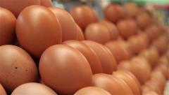 Eggs on stall at market place, changing focus from background to foreground. 4k Stock Footage