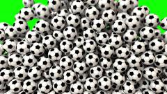 Soccer balls footballs fill screen transition composite overlay 4K - stock footage