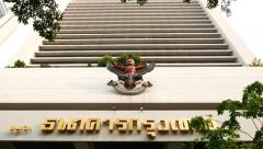 Bangkok Bank building facade, garuda sculpture symbolising the royal warrant Stock Footage