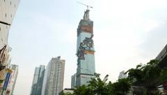 Tallest building in Bangkok, MahaNakhon skyscraper under construction Stock Footage