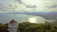 Aerial video of to the view point Khao Khad at the sunset, Phuket, Thailand Stock Footage