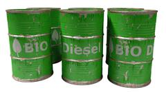 green bio diesel barrels isolated on white - stock illustration