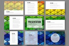 Set of 9 templates for presentation slides. Abstract vibrant backgrounds - stock illustration