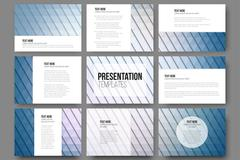 Set of 9 templates for presentation slides. Abstract blue backgrounds. Triangle Stock Illustration