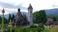 Vang stave church in Karpacz town, Poland Stock Footage
