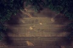 Old planks adorned with twigs Christmas tree Stock Photos
