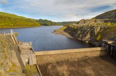 Dam of the Llyn Brianne Reservoir - stock photo