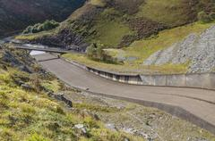 Spillway of the Llyn Brianne Reservoir. - stock photo