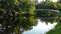 River bridge in park in summer - stock footage