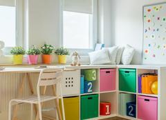 Unisex kids room design - stock photo