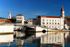 Old town of Trogir in Dalmatia, Croatia on Adriatic coast. - stock photo