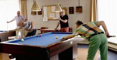 Active seniors billiard players Europe Stock Footage
