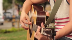 Picking at a Guitar Stock Footage