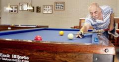 Active seniors billiard player Europe Stock Footage