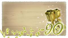 birthday concept with golden roses and star particles - 90th - stock illustration